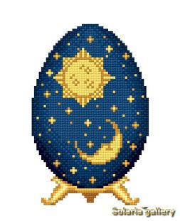 SOLARIA GALLERY > Elegant Cross Stitch Design of Easter Egg in Faberge style