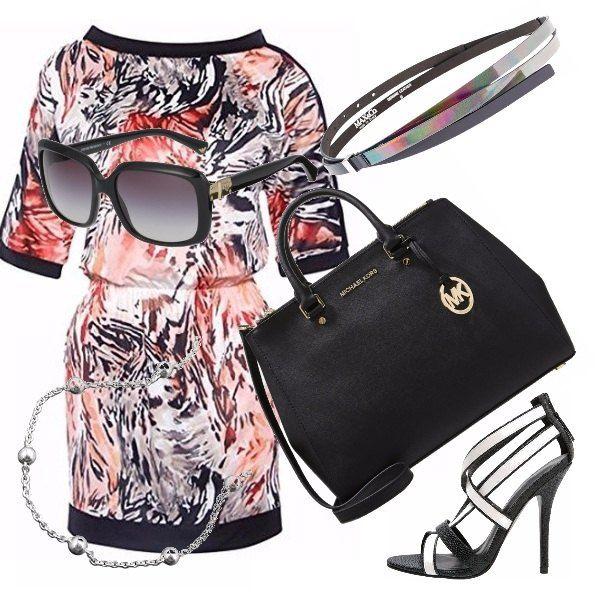 Abitino+in+fantasia+animalier+in+nero,+bianco,+rosso+e+arancione,+per+una+serata+particolare.+Sandali+bianco+e+neri+di+tacco+importante+e+borsetta+MK+media.+La+sua+eleganza+pur+essendo+media+si+può+tranquillamente+portare+la+sera.+Cinturino+cangiante+che+si+può+indossare+con+tutti+i+colori+per+i+suoi+effetti+arcobaleni.+Gli+occhiali+per+un+look+VIP.
