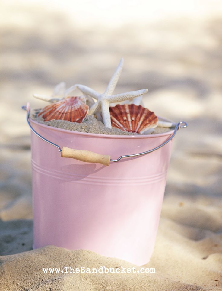Dreaming of a PINK Summer!!! Bebe'!!! Love this pretty pink pail of sea shells!!!