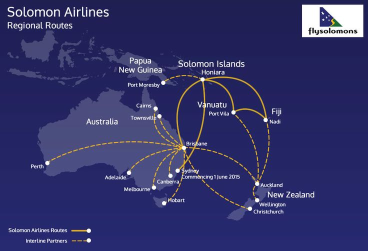 Solomon Airlines regional route map