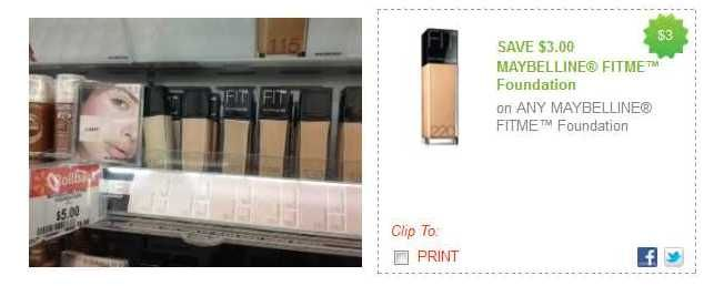 Maybelline Coupon   Fit Me Foundation only $2 at Walmart!