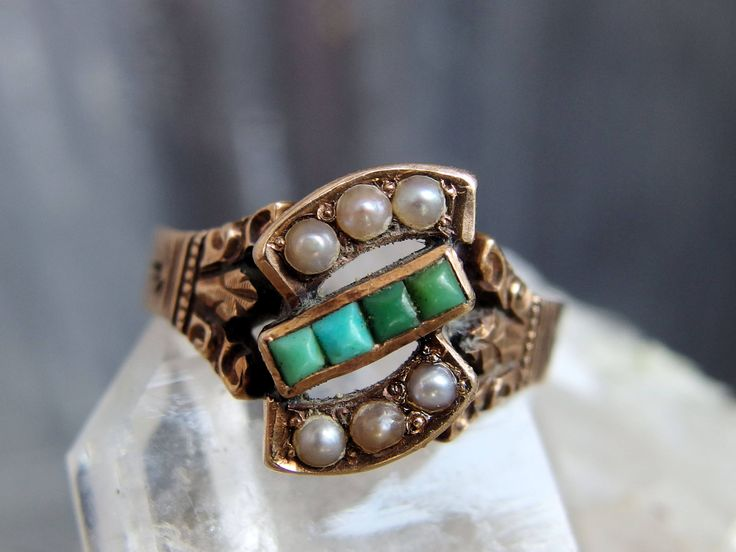 Victorian Rose Gold, Turquoise and Seed Pearl Ring, Square Cut Stones, Carved, Chased Shoulders, Inscribed 'FJ to KW', Size 6 1/4 US, Lovely by postGingerbread on Etsy