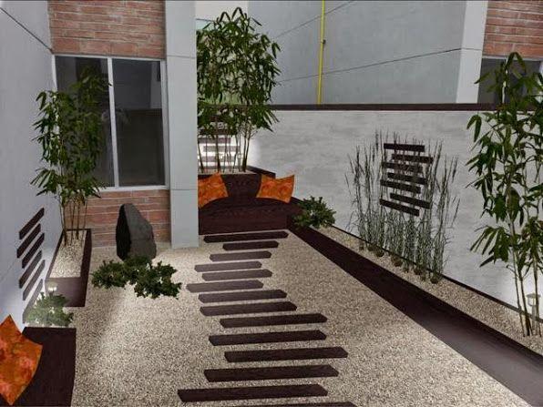 Dise o patio trasero minimalista zen foto iluminacion for Disenos jardines para patios pequenos