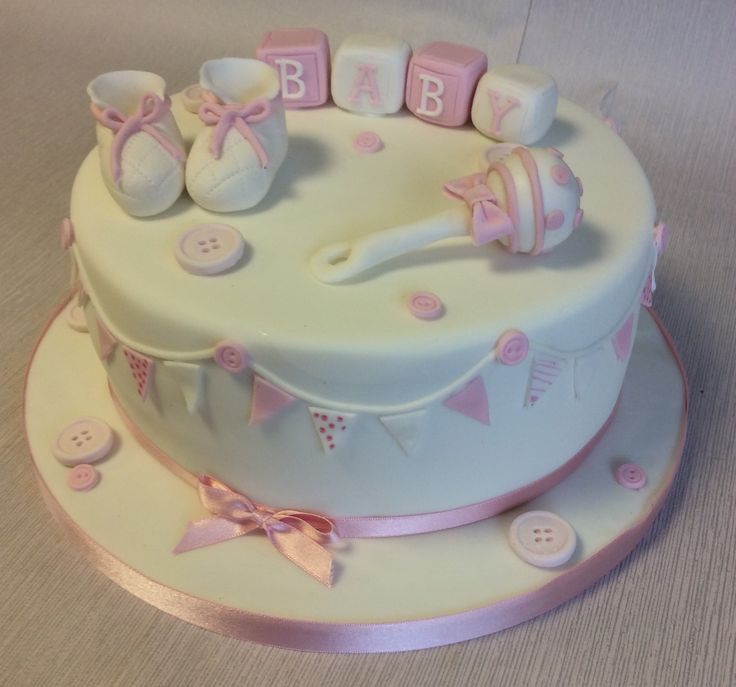Baby Shower Cakes For Girls ~ Traditional baby shower cake for a little girl
