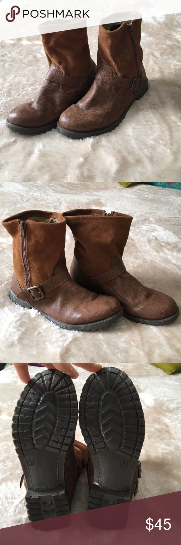 Slouchy brown boots Slouchy brown short boots I got in Europe. They were worn once or twice. Size 38 and made in Italy. Miss selfrige  Shoes Ankle Boots & Booties