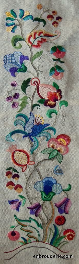 Lovely design stitch with reg. embroidery floss/thread instead of wool.