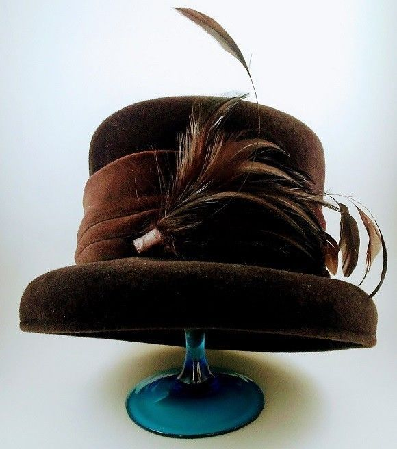 Vintage Laura Ashley Brown Felted Cloche with Feathers Great Britain Beautiful #LauraAshley #Cloche