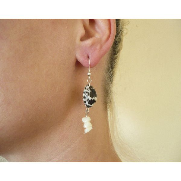 Chandelier handmade earrings with white black shells, white stones and... (€15) via Polyvore featuring jewelry and earrings
