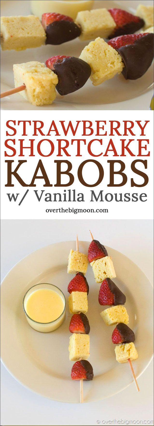 Strawberry Shortcake Kabobs with the most yummy Vanilla Mousse Dipping Sauce! These are perfect for Valentine's Day! Recipe at overthebigmoon.com!
