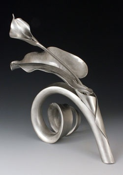 "Betty Helen Longhi, ""Calla Lily with Stand"", pewter sculpture, 8""x6.5""x5"""