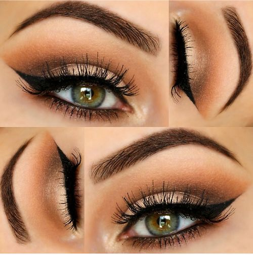 Vanilla lid, espresso crease blended with a warmer light brown. Black liner on top and bottom, crease color on bottom as well