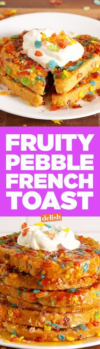 Fruity Pebble French Toast is the cutest way to do brunch at home. Get the recipe from Delish.com.
