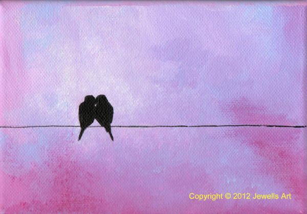 Silhouette Birds acrylic painting by Julia Underwood available from www.jewellsart.co.uk
