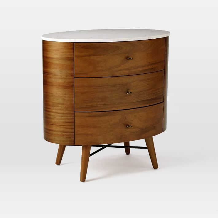 Penelope Nightstand, Small, Acorn/Marble at West Elm – Nightstand – Bedroom Furniture – Bedside Table