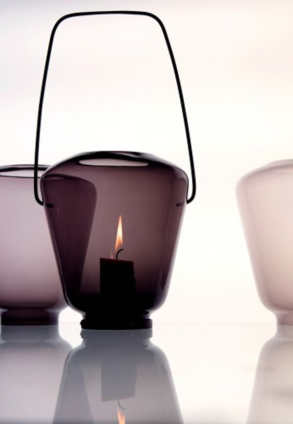 Lyhty 2010 – a candle lantern made of mold-blown glass and steel by Katriina Nuutinen