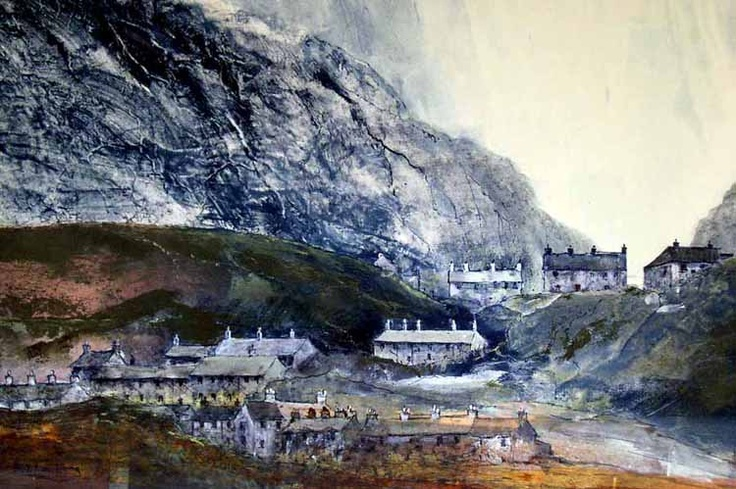 Bob Armstrong, mixed media work with watercolour, called Tanygrisiau, £490. Welsh art.