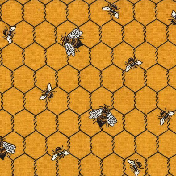 Ruche Honey Bee Moda couette tissu Français pays Le Petit Poulet américaine Jane grillage en nid d'abeille cottage jaune or 1yd 21506-13