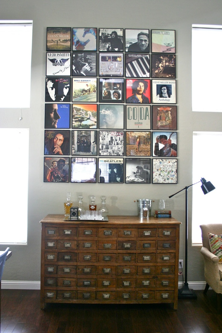 Can't WAIT to do this above the couch in my new condo :) Record Wall.