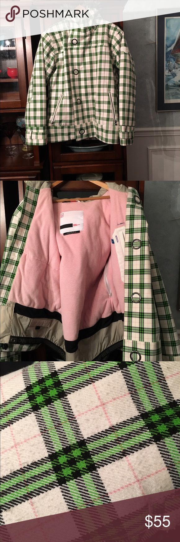 Bonfire snowboarding jacket Bonfire snowboarding jacket. Pink and green gingham details. Faux fur around the hood. Pink fleece inside with powder skirt. Zippered pockets on the outside and one inside. Some pilling on the inside of the arms. Size large Jackets & Coats