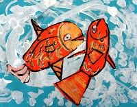 Upstream Salmon Art. I used this as a warm-up art project. Turned out pretty good. The range of kids was age 3 to Grade 2, which might have been too much of a gap. I used orange paper and white paint. Maybe would have used red/orange/yellow paints for details, too.