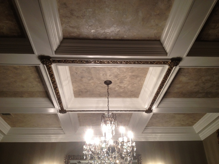 Glazed Architectural Molding : Shimmered plaster on coffered ceiling with decorative