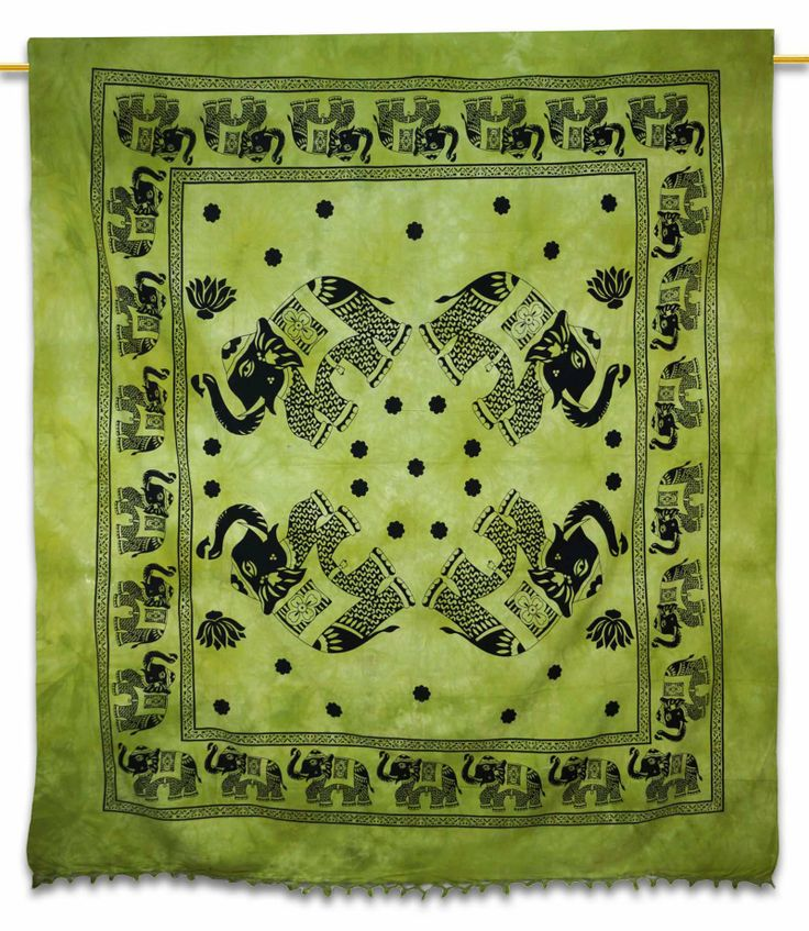 Beautiful Indian Screen Printed Cotton Elephant Printed Tapestry or Bed Cover in Twin Size.  ..this is img