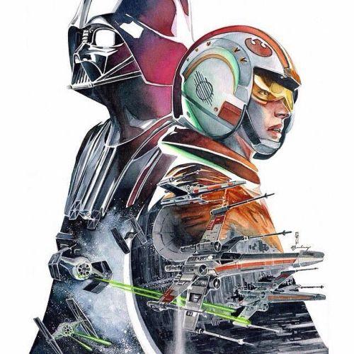 Star Wars: Darth Vader and Luke Skywalker Space Battle Artwork