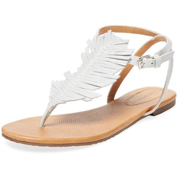 Corso Como Women's Cayman Fringe Flat Sandal - Silver - Size 6 (£55) ❤ liked on Polyvore featuring shoes, sandals, silver, silver shoes, ankle strap flat shoes, silver sandals, silver ankle strap sandals and fringe sandals