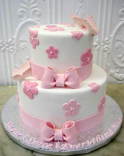 baby shower cake, simple fondant flowers