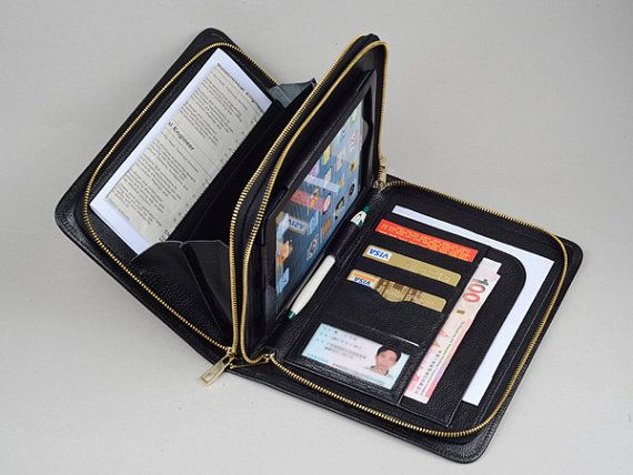 iPad Double Zipper Clutch Wallet for mini Apple iPad mini Full Grain Leather Portfolio Case for Hand Clutch Carrying bag with Handle on Etsy, $135.00