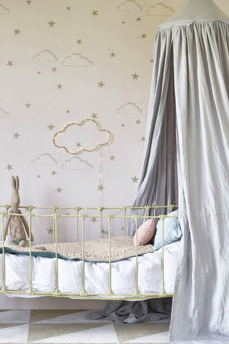 Stylish stars and clouds wallpaper design by Hibou Home which creates a pretty background for any nursery wall. Shown here in soft pale rose and gold with subtle matt effect.