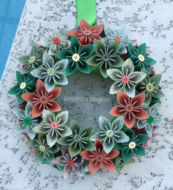 Groene weide / / Origami/Kusudama papier bloem krans / /