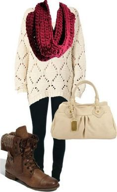 #fall #outfits / red knit sweater + scarf