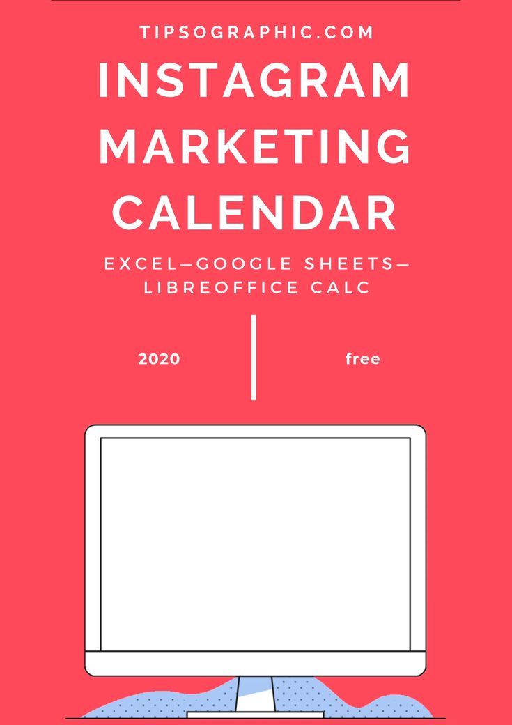 Instagram Marketing Calendar Template for Excel, Free