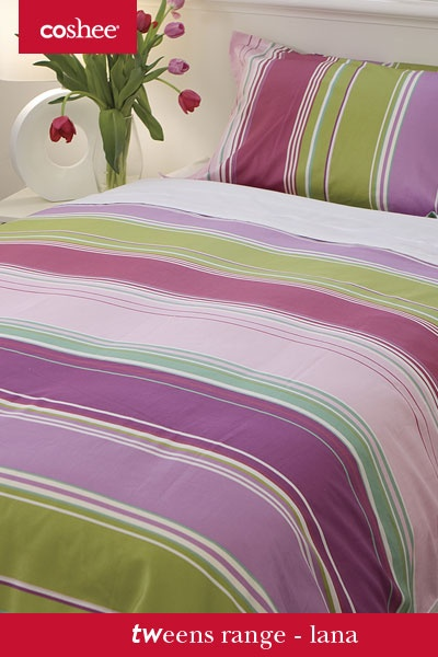 Our Lana is a gorgeous mix of soft pinks and bold green and purple for a stunning look in the bedroom
