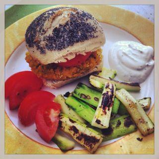 Homemade vegetarian lentil pumpkin chia seeds burger