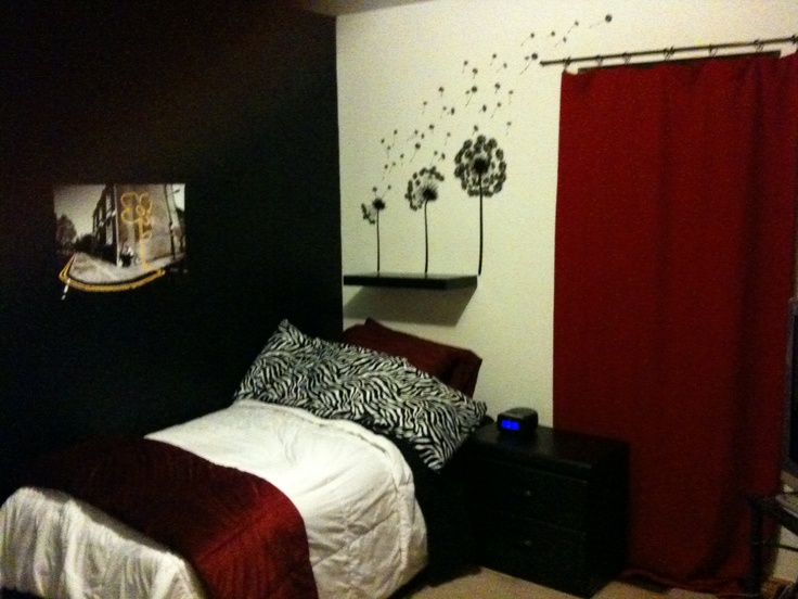 Black White Red Bedroom For My Age Daughter The Dandelions On Wall