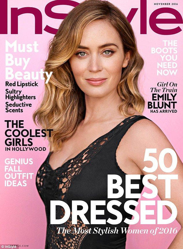 Lovely lady: Emily Blun tlooked stunning as she is featured on the cover of the November issue of InStyle magazine