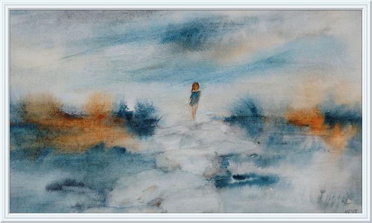 "Printable art, watercolor by Tsvetilena Bochukova, digital print,wall decor, instant download,""The sky is so close"""