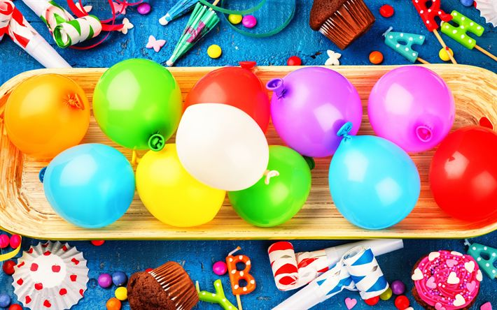 Download wallpapers Happy Birthday, colorful balloons, holiday decoration, congratulations, cupcakes, Birthday