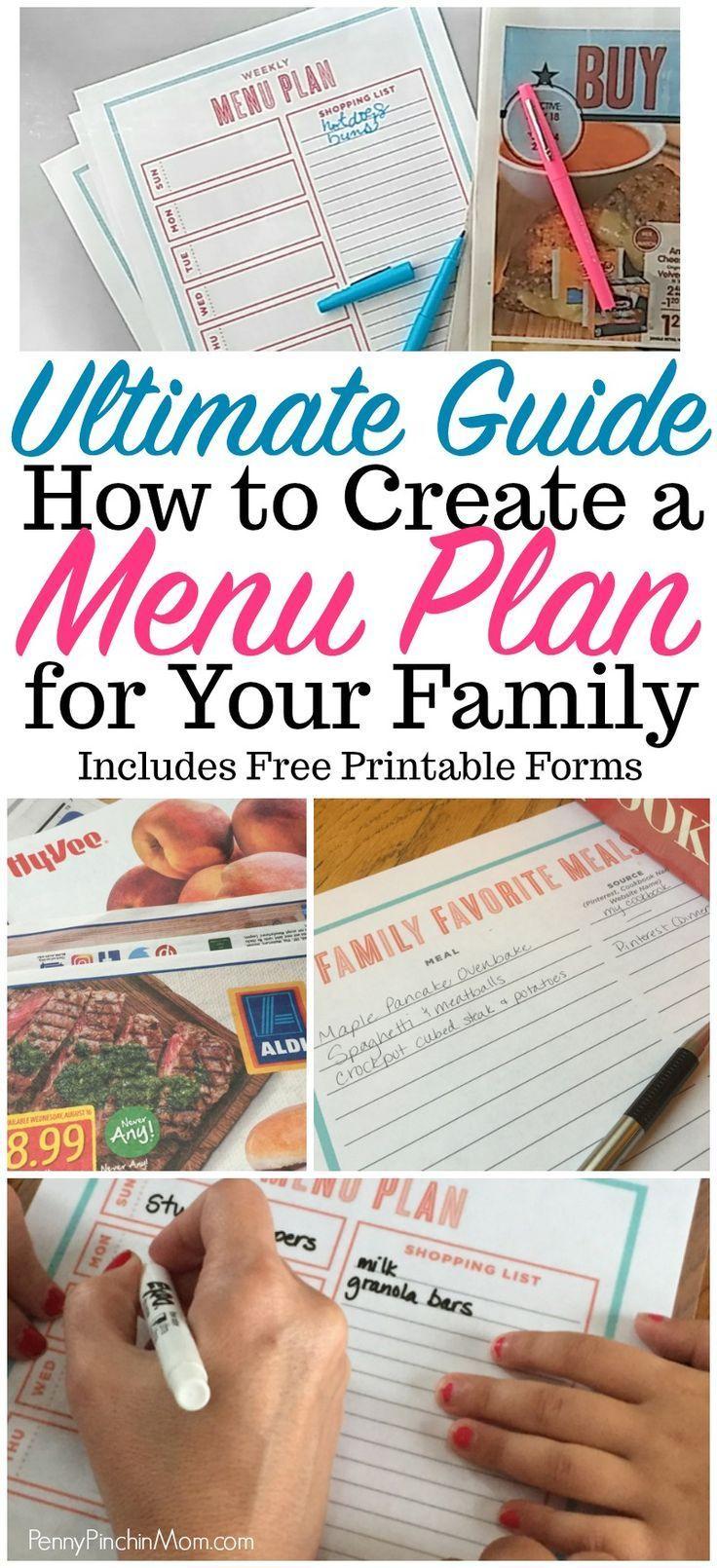 how to create a menu plan for your family  Menu planning forms | help menu planning | how to start with a menu plan