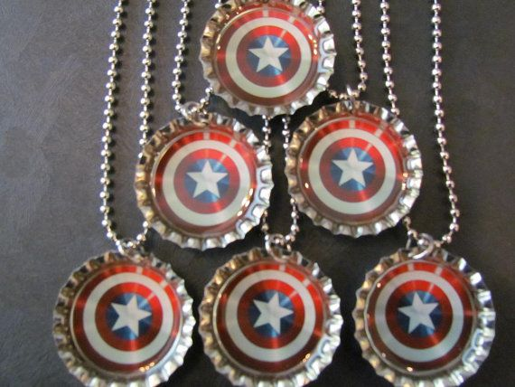 Captain America /   Bottle Cap Party favors 6 / by PPPartyFavors, $12.00