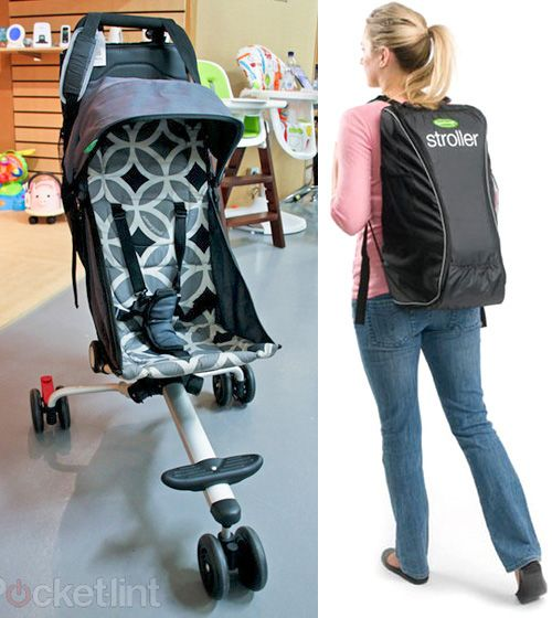 Wow!  Could have used 1 of these when my kids were little and traveling overseas!collapsible stroller that fits into a backpack. The whole package weighs less than 9lbs, and is suitable for a child aged from six-months (up to 33lbs/15kg). And features include a 5-point harness and canopy, padded seat and footrest, a built-in shopping basket.