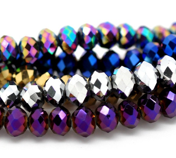 4x6 Faceted Rondelles Crystal Glass Mix Metallic Bead Strands, $19.90
