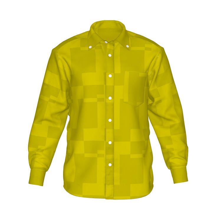 シンプルな幾何学模様のグラフィックシャツです。/『幾何学模様グラフィックシャツ 黄』 - 7th Spirits
