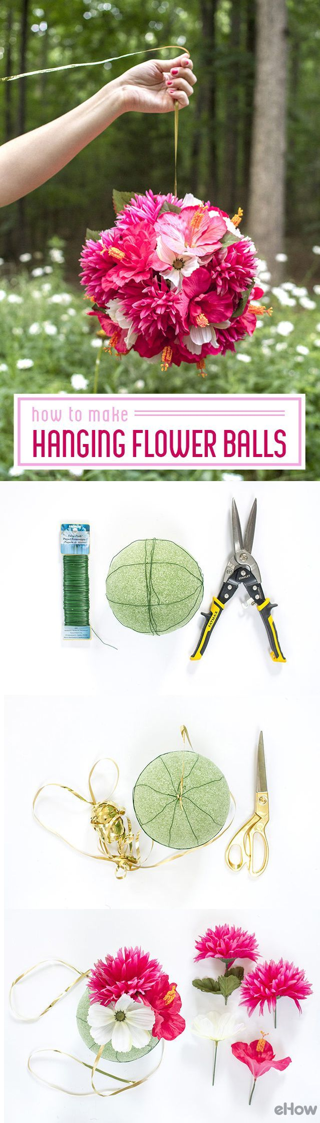 Hanging flower balls instantly light up any room, patio, banquet hall or garden. These are SO easy to make, you  can easily make them for every occasion no matter what season! So beautiful. http://www.ehow.com/how_4787906_make-hanging-flower-balls-wedding.html?utm_source=pinterest.com&utm_medium=referral&utm_content=freestyle&utm_campaign=fanpage