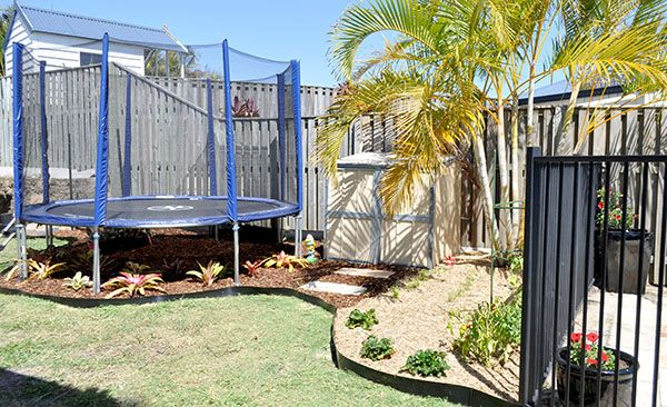 Trampoline garden and veg patch combo