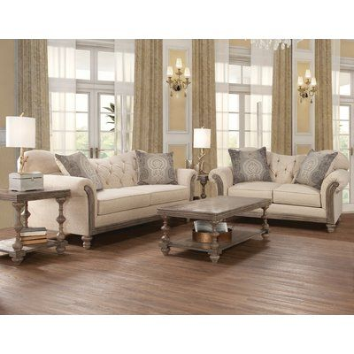 Ophelia & Co. Larrick Fabric Tufted Leather Living Room Set