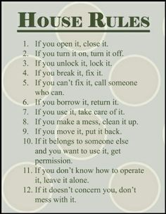 house rules for roommates example - Google Search