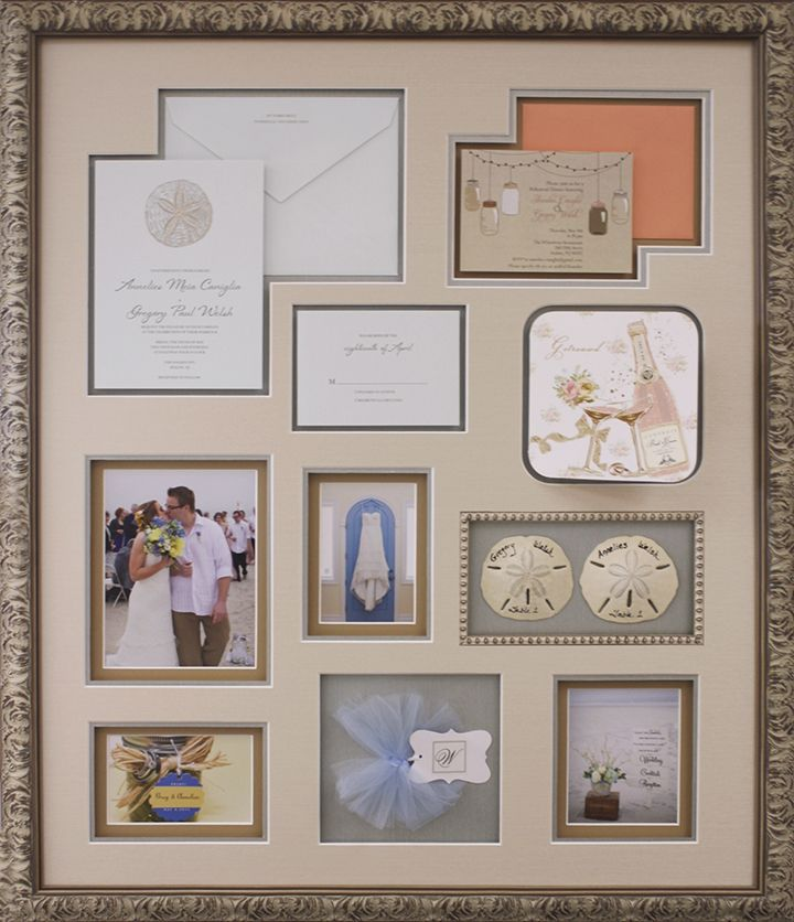 Wedding Collage Frame. Custom design by Art and Frame Express in Edison, New Jersey.
